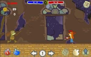 """Captura del juego """"OddHero"""" (no es definitivo) en el que se muestra la interfaz y uno de los escenarios."""