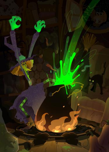 Ilustración vectorial donde el verde radiactivo transmite magia y poderes sobrenaturales