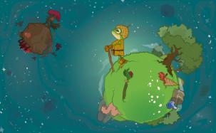 Imagen comercial de ODDHERO basada en la clásica ilustración de El principito.