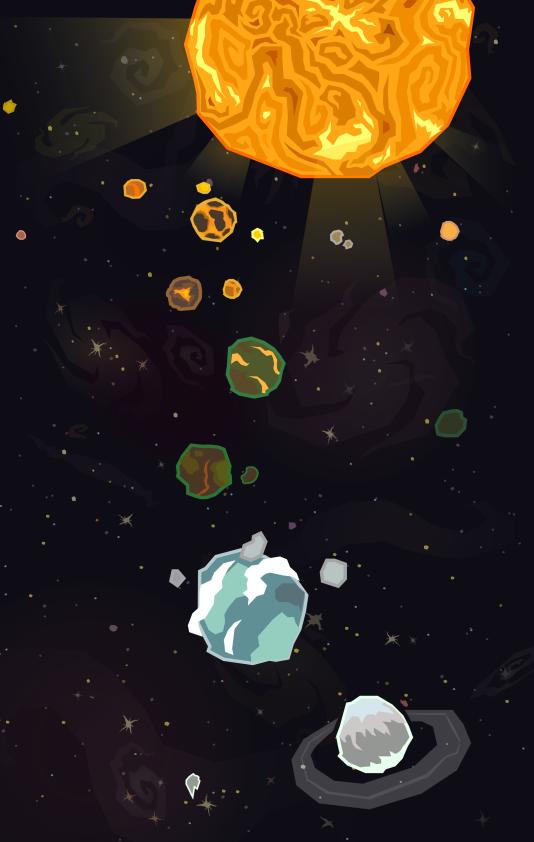 Un mapa de selección de niveles para el juego de naves Spiral Wings.