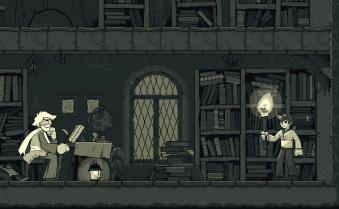 El primer nivel de Noumenon. Juego realizado en pixel art con un toque muy retro al usar únicamente 8 colores.