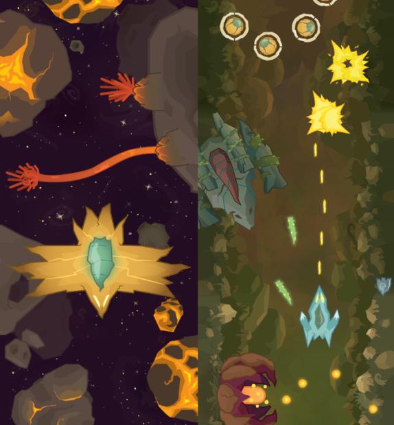 Muestra de dos tipos de niveles distintos con diferentes enemigos, disparos, etc.