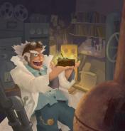 Ilustración principal del juego de mesa Machinations, donde un científico pirado se muestra entusiasmado con su nueva invención un tanto inestable.