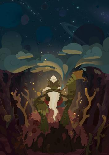 Un sapo con un aura mística en posición reflexiva. La transición repentina de bosque a cosmos transmite pensamientos elevados.