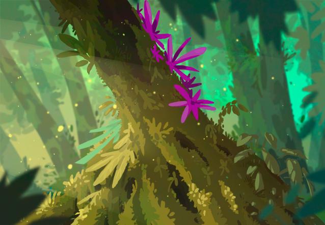 Ilustración de un tronco de árbol frondoso imitando el estilo del videojuego Rayman. Hecho únicamente con la paleta gráfica.
